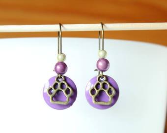 Sequin purple enamel pendant and bronze dog paw earring