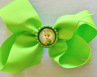 Large Bow,Tinker Bell,Disney,Big Bow,Girls Bow,Girls Hair Bow,Princess,Photo Shoot,Bow,Hair Accessories,Accessories,Birthday,Gift,Handmade