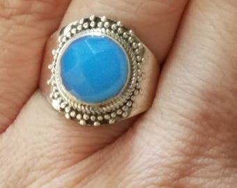 Beautiful Blue Chalcedony  Sterling Silver Ring size 7