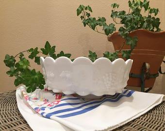 Westmoreland Paneled Grape Milk Glass Fruit or Salad Bowl