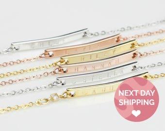 Personalized Bracelet Personalized Gold Bar Bracelet Engraved Bracelet Sister Bracelet Custom Roman Numeral Bracelet Best Friend bracelet