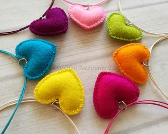 Felt Heart Necklace, Pink Heart Pendant, Christmas Stocking filler for girls, Girls jewelry, Gifts under 10, Gift for little girl