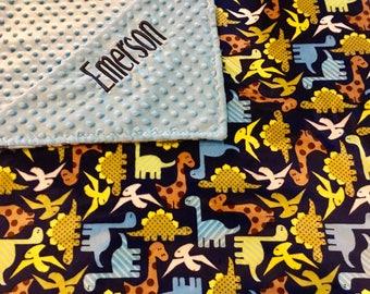 Dinosaur minky blanket, personalized dinosaur minky blanket, Baby Gift, Nursery Blanket, Toddler Bedding, Nursery Blanket, Crib Bedding