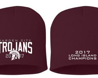 Embroidered Beanies - Hats - Garden City - High School - Soccer and Football - Trojans - GCHS - Long Island Champions