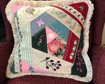 REduced Price! Handmade hand silk ribbon embroidered original design crazy quilt pillow shabby cottage chic