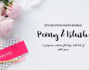Peony bundle - 5 styled stock photos (desk scene - gold,peonies) - for blogs/businesses - sale 60 % off, perfect for printables & mock-ups!
