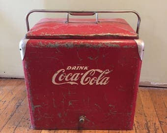 Vintage Coca Cola Cooler/Coca Cola/Vintage Red Coke Cooler/Coke Cooler/Red Metal Cooler/Metal Ice Box/Coca Cola Soda Bottle Cooler/Ice Chest