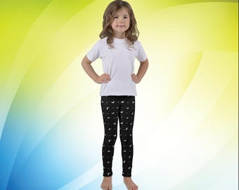 Black and White Dolphins Kid's Leggings - Kids Clothing - Sportswear and Activewear, Perfect for Gymnastics, Running, Dancing and Playing