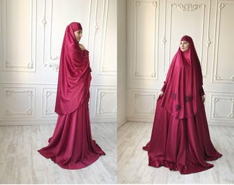 Elegant burgundy Muslim suit, Silk dark red jilbab, wedding khimar, engagement islamic dress, nikah outfit, lace burqa