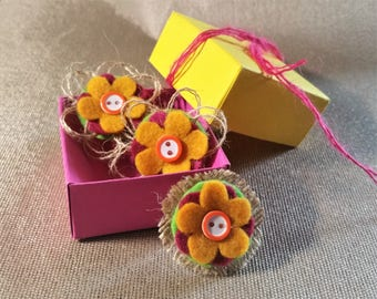 Felt Flower Brooch and two Hair Bobbles in the lovely gift box