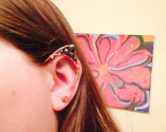 Elf Ear Cuffs (hematite, copper wire)