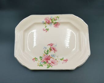 Vintage Taylor Smith Taylor ~ TST ~ Pink Rectangular Tray ~ Pink Flowers with Platinum Trim