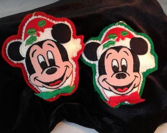 Vintage Mickey Mouse Walt Disney Productions Christmas Plush Two  Ornament's 1980's