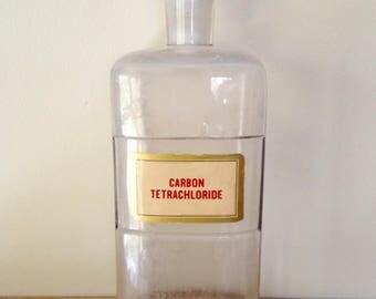 Antique Apothecary Bottle Jar - carbon tetrachloride - pharmacy