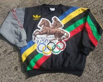 VTG ADIDAS Helsinki 1952 Stockholm 1956 Olympic DeadstocK Sweater Hoodie T-Shirt 90s RARE