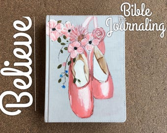 Hand painted bible for journaling ballet shoes floral ballerina pink NLT semi custom