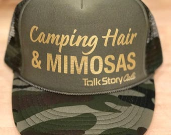 Camping hair & Mimosas trucker hat