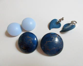 Lot vintage blue clip on earrings, Costume jewelry, 1980s, 3 pair, with flaws