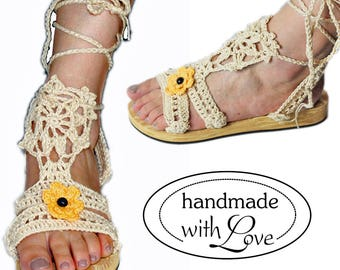 Handmade unique hippie Ibiza hand crocheted platform sandals wide fit Gr. 39 39.5