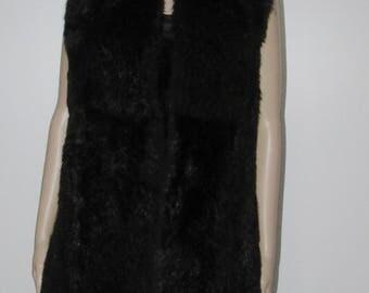 Jolie veste de vraie  fourrure  d'opossum noir/vintage  beautiful  warm black real opossum fur vest  bust 40