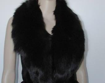 """Très beau collet châle de fourrure véritable de renard noir vraie fourrure / Vintage beautiful black shawl fox  réal fur collar   40"""" X 3"""""""