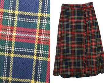 Vintage Wool Red Tartan Scottish Plaid Checkered Wrap Kilt / Skirt Size S Tartan Plaid Skirt Pleated Accordion Pleated Skirt Made in England
