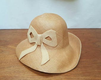 Vintage 60s Mr. JOHN JR. 2-Tone Straw Sun Hat with Bow Mod TIKI