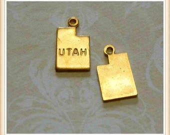 Utah 12 pcs raw brass state charm UT