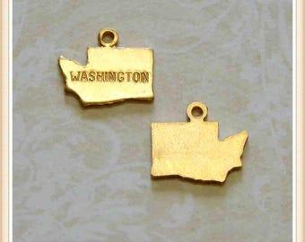 Washington 12 pcs raw brass state charm WA