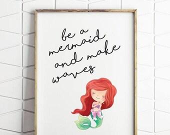 70% OFF SALE mermaid printable, mermaid download, girls mermaid room decor, mermaid art print, nursery mermaid, mermaid quote decor