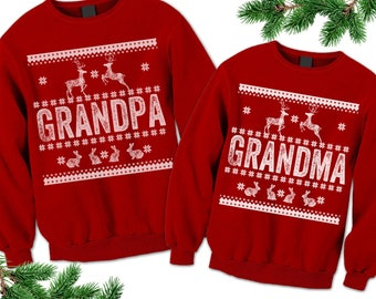 Family Christmas Outfit. Ugly Christmas Sweater. Grandma Grandpa Ugly Sweater. Matching Outfits. Gift for Grandmother Grandfather Unisex.