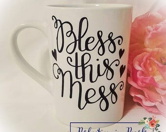 Bless This Mess Coffee Mug // Funny Coffee Mug // Funny Adult Gift // Stocking Stuffer // Birthday Gift // Gifts under 10 //