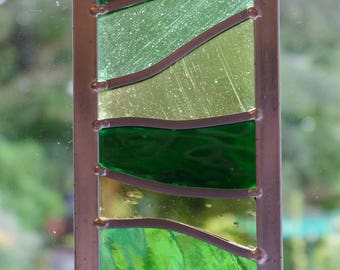 Leaded stained green glass suncatcher