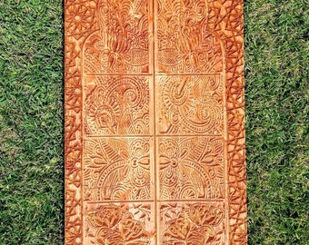 Carved Wood Wall Art Panel Door (4ftx3ft) Moroccan Indian Inspired With  Housewarming Gift