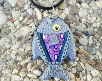 Silver fish made of polymer clay necklace