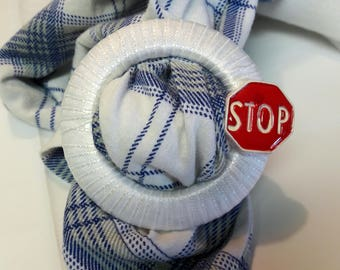 "Stop Sign T-Shirt Scarf Tie / Red and White ""STOP"" / Decorate Your Tee-Shirt or Scarf / Summer Fun Traffic Travel Auto"