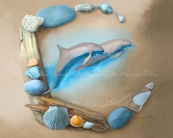 Sea Angels by Leanne Peters - Seaside Art - Dolphin Art - Fantasy Art