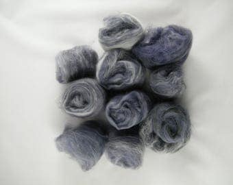 Purple, Grey & White Art Batt - Handmade in Canada - Superwash Merino and Cashmere - Drum Carder Produced - Great for Spinning