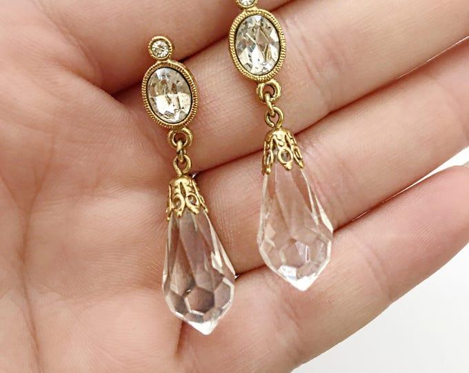 Vintage gold earrings, vintage dangle earrings, vintage jewelry, vintage gold jewelry