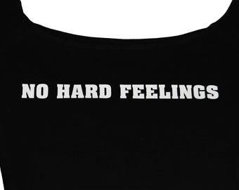 No Hard Feelings Black Cotton Spandex Off-Shoulder Crop Top