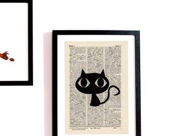 """Adorable cat """"Cat"""" antique book page - portrait"""
