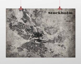 Stockholm din a4/DIN A3-print-old-school