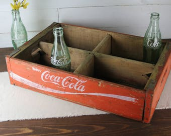 Vintage Red Coca Cola Crate, Coke Crate, 4 slot, Good condition