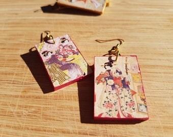 Pink blossom Geisha - elegant, rectangular, light, wooden earrings