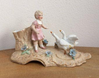 Vintage, Antique Victorian Bisque Porcelain  Spill, Posy Vase, Little Girl with Two White Geese - Continental, German?