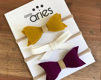 Fall Berry Bow Set - Baby Girl Bows - Baby Girl Headband - Toddler Clip - Mustard Bow - Purple Bow - Thanksgiving Bow - Halloween Bow
