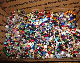 SALE ! Vintage Glass Beads - Small flat rate box full - lot 6 ,  beads , sterling , crafts , jewelry making , jewelry