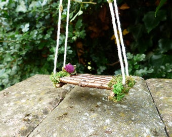 Fairy Swing - Pixie, Fairy Garden Swing, Miniature Swing, Fairy Garden, Fairy House, Fairy Furniture, Fairy Accessories, Faery Garden, Fae