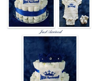 Just Arrived Infant Boys' 2 Tier Prince Diaper Cake/Gift Arrangement