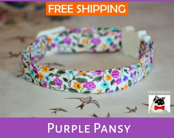 Flower cat collar 'Purple Pansy' - fancy floral cat & kitten breakaway / quick release collar - floral cat collar
